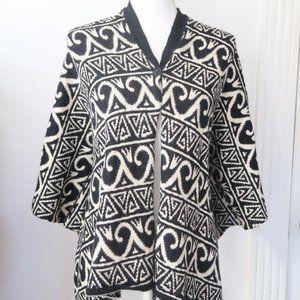 Nicole Miller Black White Alpaca Cardigan Jacket